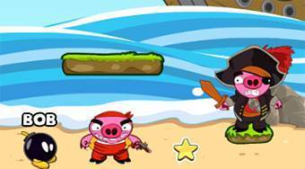Bomb the Pirate Pigs - online game | Mahee.com