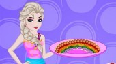 Elsa Cooking Rainbow Pizza