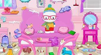 Hello Kitty Winter Room Cleaning | Free online game | Mahee.com