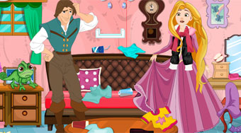 Rapunzel And Flynn Winter Clean Up - Game | Mahee.com