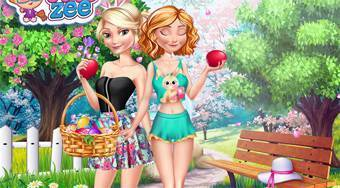 Elsa and Anna Easter Fun - jeu en ligne | Mahee.fr