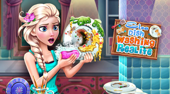 Elsa Dish Washing Realife - online game | Mahee.com