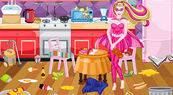 Super Barbie Kitchen Cleaning - el juego online | Mahee.es