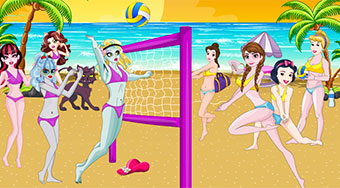 Princess Vs Monster High Beach Volleyball | Mahee.es