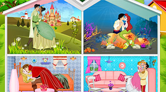 Princesses Kissing Dollhouse - Game | Mahee.com